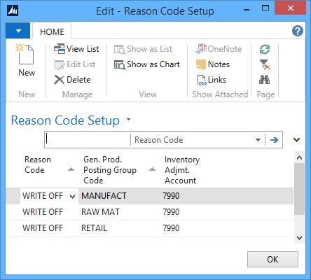 Reason Code Setup