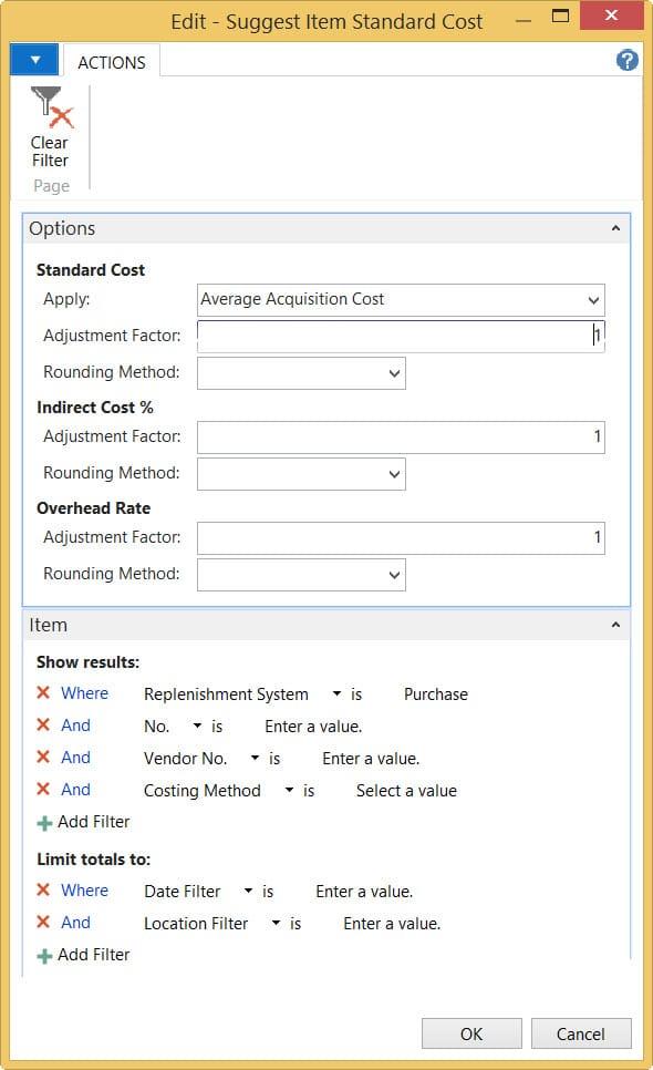 Advanced Standard Cost Worksheet